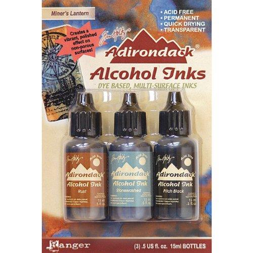 Adirondack Earthtones Alcohol Ink .5oz 3/Pkg-Miners Lantern-Rust/Stonewash/Pitch Blk (Adirondack Dye compare prices)