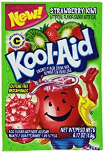 Kool-Aid Strawberry Kiwi Unsweetened Soft Drink Mix, 0.17-Ounce Packets (Pack of 96)