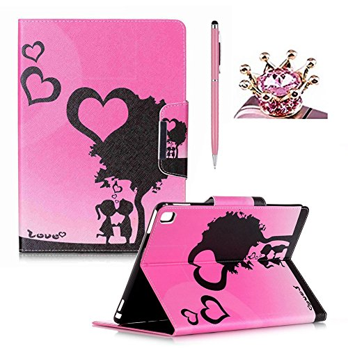 iPad Pro 9.7 Case,Colorful Printed Flip Foilo Stand PU Leather Smart Case Cover with Metal Magnetic Close for iPad Pro 9.7,SKYXD Pretty Fashion Love Heart Tree Pattern Book Style Full Protection Tablet Case Cover Skin with Built in Wallet Function and Card Slots for iPad Pro 9.7 + Pink Stylus + Pink Crown Dust Plug