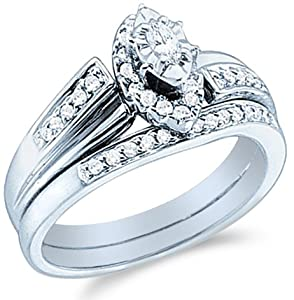 diamond ladies womens bridal engagement ring with matching wedding