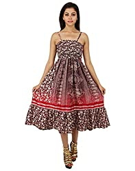 Classic Polyester Floral Dress Red Printed Medium For Women By Rajrang