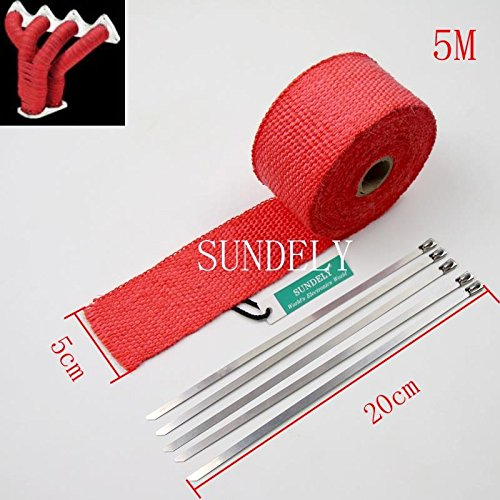 SUNDELY® Red Color Glassfiber Exhaust Pipe Header Heat Wrap Resistant Downpipe Tape Roll 2in X 16ft (5cm X 5m) + 5 Metal Ties 1