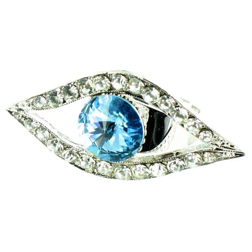 Blue And Clear Crystal On Silver Plated Evil Eye Ring front-800747