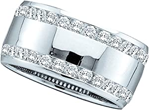 14kt White Gold Womens Round Natural Diamond Machine-set Band Wedding Anniversary Ring (1.00 cttw.)