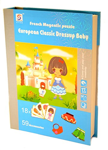 French Magnetic Deluxe Puzzle - European Classic Dress up Doll Girl - 77 Pcs (18 Cards and 59 Magnetic Accessories) - 1