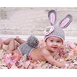 Lalawow Baby Photo Props Baby Girl Knitted Baby Milk Cotton Outfits Costume Cute Bunny Suit