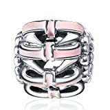 925 Sterling Silver Hollow Bow Enamel Charms European Bead Fit Snake Chain Bracelet Bangle DIY Accessories Jewelry