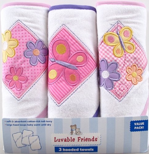 Luvable Friends 3-Pack Patches Hooded Towels, Pink