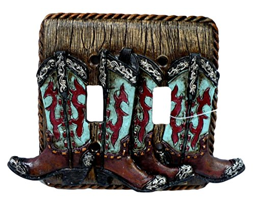 Western Turquoise Boot Double Toggle Light Wall Cover Plate Receptical Electrical (Western Electrical Covers compare prices)