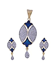 Nimbark Traders Brass And Metal White & Blue Color Designer Pendent Set With Earrings For Women