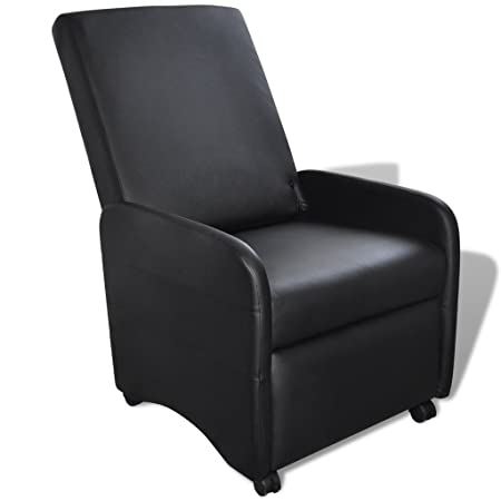vidaXL Sillón negro reclinable de cuero artificial