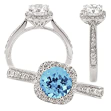 buy 18K Elite Collection Lab-Grown 6.5Mm Round Aquamarine Spinel Engagement Ring With Natural Diamond Halo