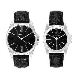 Laurels Opus Analog Black Dial Couples Watch - Lo-Opus-0202