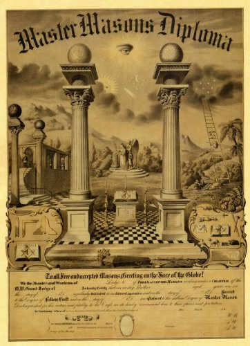 "MASONIC FREEMASONS 1870 ""MASTER MASON JOURNEY DIPLOMA CERTIFICATE"" POSTER Reproduction PRINT - from Hibiscus Express"