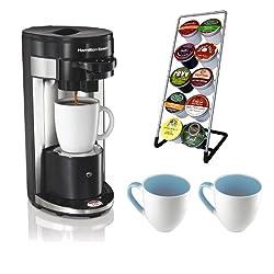 Hamilton Beach 49995 FlexBrew Single Serve K-Cup Coffeemaker + Coffee Pod Stand + Stoare Coffee Mug Set from Hamilton Beach