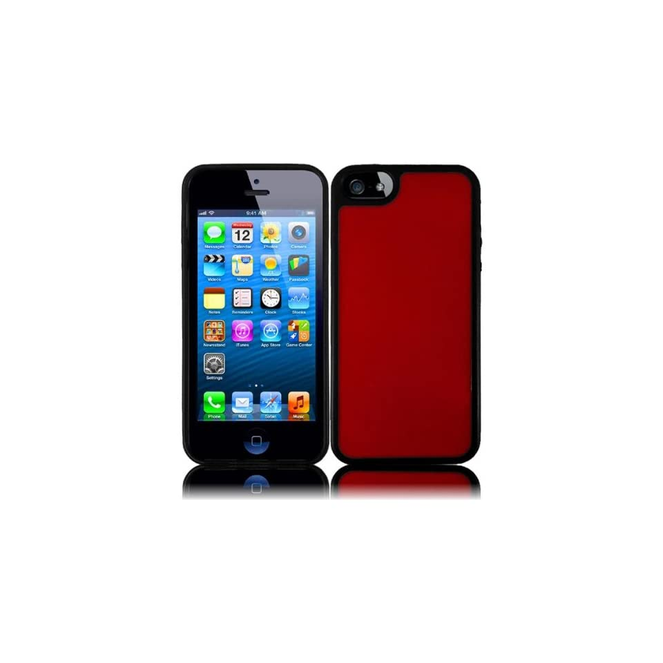 VMG 2 ITEM Combo For New Apple iPhone 5 [LATEST MODEL] TPU Hybrid Bumper GLOVE Gel Skin Case Cover   RED/BLACK + ANTI GLARE LCD Clear Screen Saver Protector [by VANMOBILEGEAR]