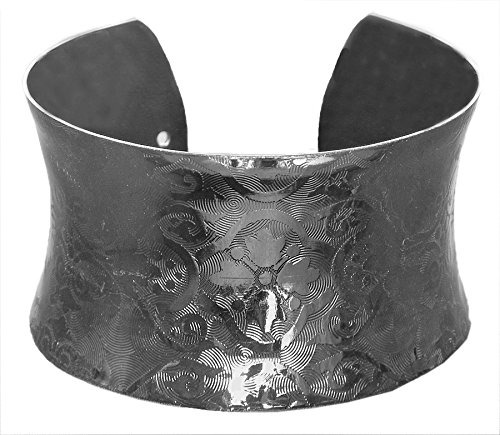 DollsofIndia Black Carved Metal Cuff Bracelet - Metal - Black - B00VNWQY8G