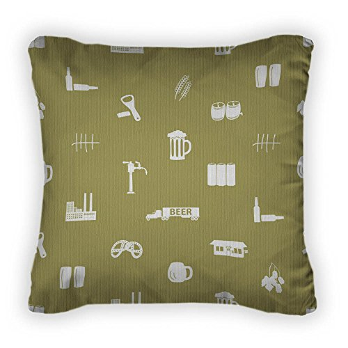 Gear New Beer Icon Pattern Eps10 Throw Pillow, Poplin, 18x18, GN8846