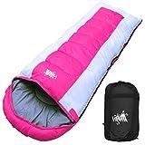丸洗いOK White Seek 寝袋 シュラフ 封筒型 耐寒温度 -15℃ コンパクト収納 オールシーズン (ピンク)