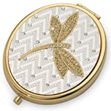 DRAGONFLY GOLD - Vanity Fair Luxury Compact Mirror With Austrian Crystals