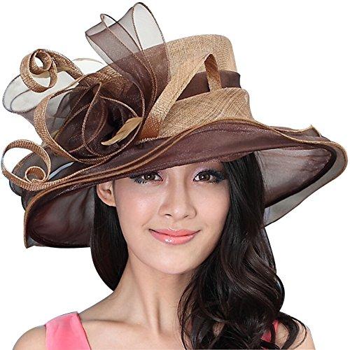 June's Young Women Wedding Hat Church Hat Cocktail Sun Hat Epsom derby Hat Vintage Sinamay (Brown)