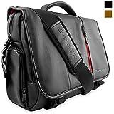 """Snugg™ Crossbody Shoulder Messenger Bag in Black Leather - Fits Laptops up to 17"""""""
