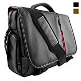 Snugg Laptop Messenger Bag in Black Leather for Laptop Computer, Notebook & Tablets