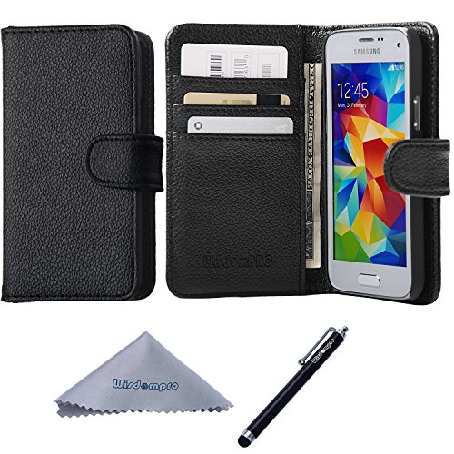 S5 Mini Case, Wisdompro Premium PU Leather 2-in-1 Protective [Folio Flip Wallet] Case with Credit Card Holder/Slots for Samsung Galaxy S5 Mini G800F G800H G800H/DS (NOT Fit S5) - Black (Samsung S5 Mini Case For Men compare prices)