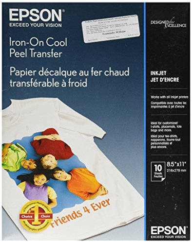 Epson Iron-on Cool Peel Transfer (8.5x11 Inches, 10 Sheets) (S041153) (Clear Iron On Transfer Paper compare prices)