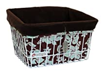 Couture Cruiser Bicycle Basket Liner & Tote Bag (Brown & Teal with Brown Liner)