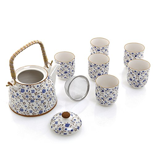 Blue Roses Design Japanese Tea Service Set with Teapot w/ Bamboo Top Handle, 1 Leaf Strainer & 6 Teacups (Japanese Tea Service Set compare prices)