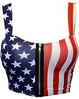 Mymixtrendz Women Crop ZIP Front Summer Print Boob Tube Bra Top Size 8-14