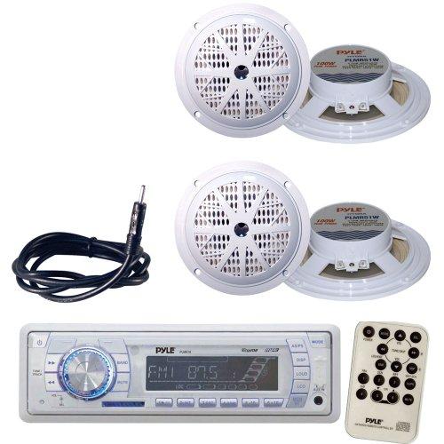 Pyle Marine Radio Receiver, Speaker and Cable Package - PLMR18 AM/FM-MPX PLL Tuning Radio w/SD/MMC Memory Card Slot & USB - 2x PLMR51W 2 Pairs of 100 Watt 5.25'' 2 Way White Marine Waterproof Speakers - PLMRNT1 22