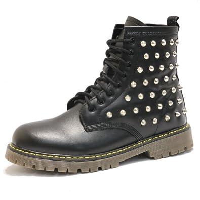 Men's Custom Silver Studded Black Fashion Zip Combat Boots (7 D(M) US)