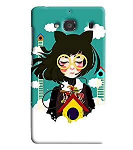 Blue Throat Girl In Chinese Printed Designer Back Cover/ Case For Xiaomi Redmi 2S