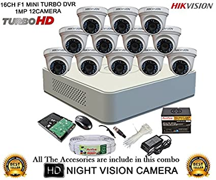Hikvision-DS-7116HGHI-F1-Mini-16CH-Dvr,-12(DS-2CE56COT-IRP)-Dome-Cameras-(With-Mouse,-2TB-HDD,-Bnc&Dc-Connectors,Power-Supply,Cable-)