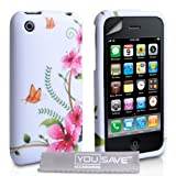 Apple iPhone 3 / 3G / 3GS Case Floral Butterfly Silicone Cover With Screen Protector & Polishing Cloth