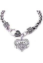 "DIABETIC Awareness Alert Charm Women's Bracelet, 7.5"" Silver Tone"