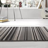 Flair Rugs Element Canterbury Striped Rug, Grey/Black, 160 x 220 Cm by Flair Rugs