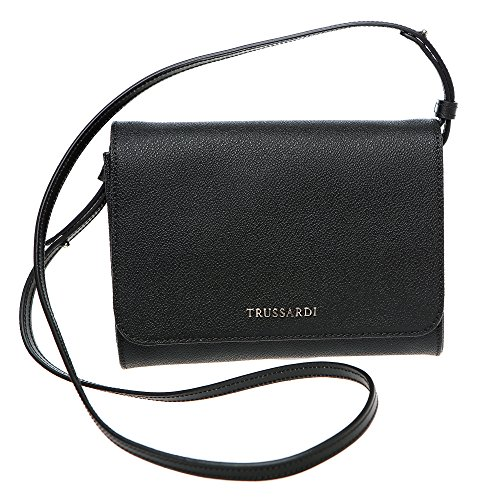 Trussardi Borsa Pochette a Tracolla in Dollaro Vera Pelle di Vitello - 20x16x5 Cm - Mod. 76B113M