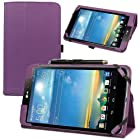 Evecase SlimBook Leather Folio Stand Case Cover for LG G PAD 8.3 4G LTE VK810 (Verizon Wireless) - 8.3 inch Android Tablet ( Purple)