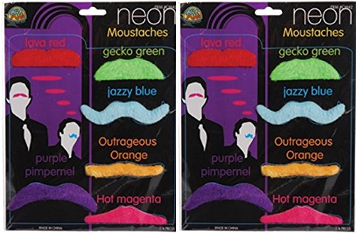Mustache Party Pack - 12 Neon Color Fake Mustaches Moustaches - 1