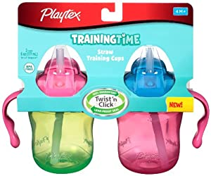 Playtex Training Time Straw Cups, 6 Ounce, 2 Count (Colors may vary)