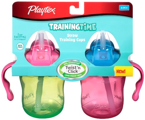 Playtex Training Time Straw Cups, 6 Ounce, 2 Count (Colors May Vary) front-974976