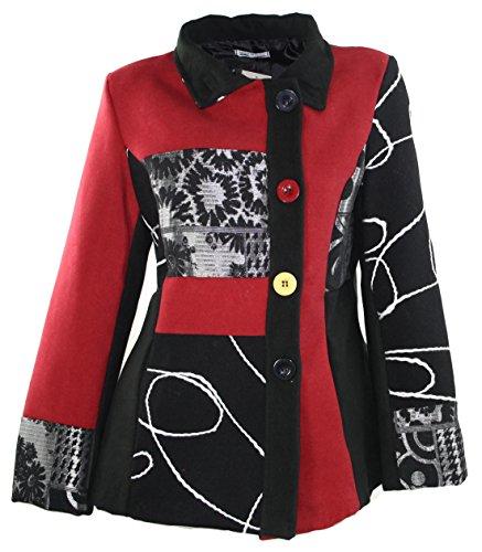 #693 Damen Luxus Designer Patchwork Winter Mantel kurz Stickerei Neu 36 38 40 42 (38)
