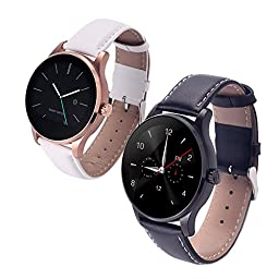 Witmood k88h Round Smart Watch Heart Rate Monitor Wristwatch with Remote Camera Clock Bluetooth for Android and IOS Phone (Couple Smart Watches)