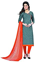 Go Traditional Women's Cotton Unstitched Dress Material (Grey)
