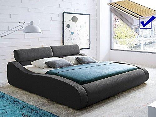Polsterbett anthrazit Bett 180×200 Bett komplett + Matratze + Lattenrost Singelbett Designerbett Artura günstig bestellen