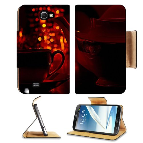 Coffee Cup Pot Romantic Light Samsung Galaxy Note 2 N7100 Flip Case Stand Magnetic Cover Open Ports Customized Made To Order Support Ready Premium Deluxe Pu Leather 6 1/16 Inch (154Mm) X 3 5/16 Inch (84Mm) X 9/16 Inch (14Mm) Msd Note 2 Cover Professional