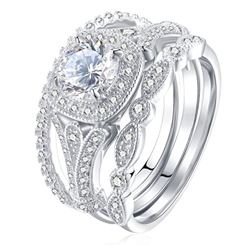 Newshe Bridal Set 2ct Round Cut White Cz 925 Sterling Silver Wedding Engagement Ring Set Size 8